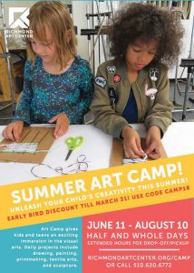 Summer Art Camp for Kids Begins Today! @ Richmond Art Center | Richmond | CA | United States