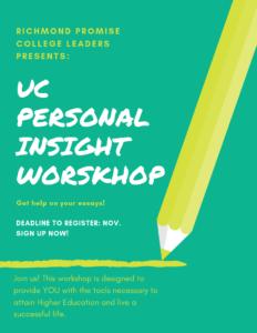 UC Personal Insight Question Workshop @ Richmond | CA | US