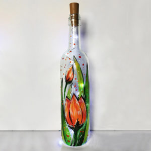 PaintNite: Spring Tulip wine Bottle with Fairy Lights @ Riggers Loft Wine Company | Richmond | CA