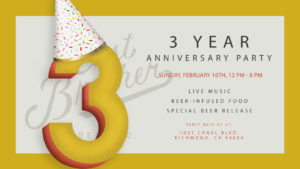 East Brother Beer's 3rd Anniversary Celebration @ East Brother Beer Company Brewery |  |  |